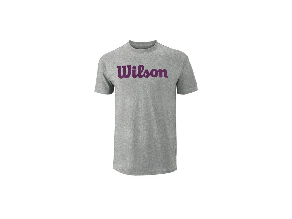 pánské tričko Wilson M Script Cotton Tee Heather Gr/Purple