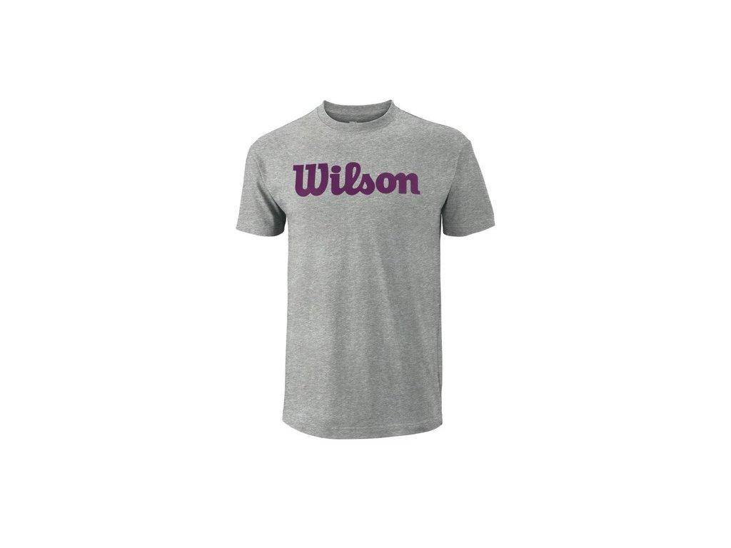 pánské tričko Wilson M Script Cotton Tee Heather Gr/Purple