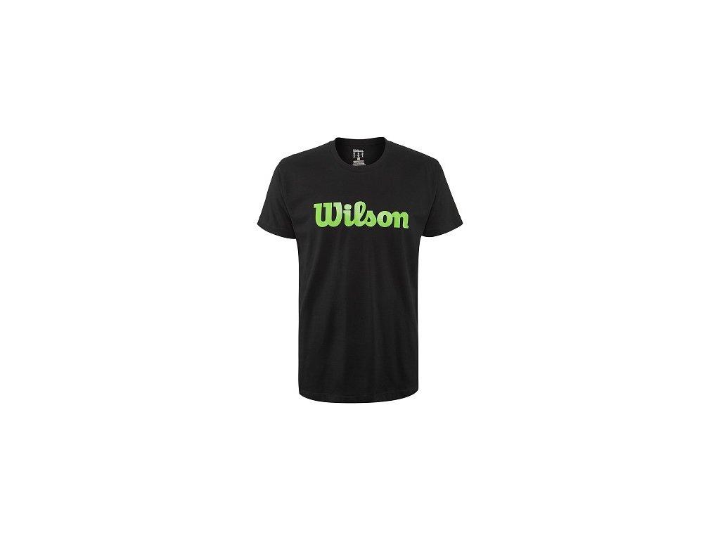 pánské tričko Wilson M Script Cotton Tee  Black/Blade Green