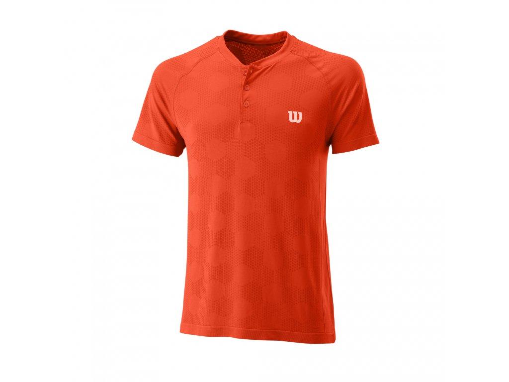 Pánské tričko Wilson M Power Seamless Henley Orange