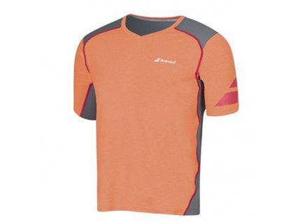pánské tričko Babolat V-Neck Tee men Performance - oranžové (Oblečení pánské XL)