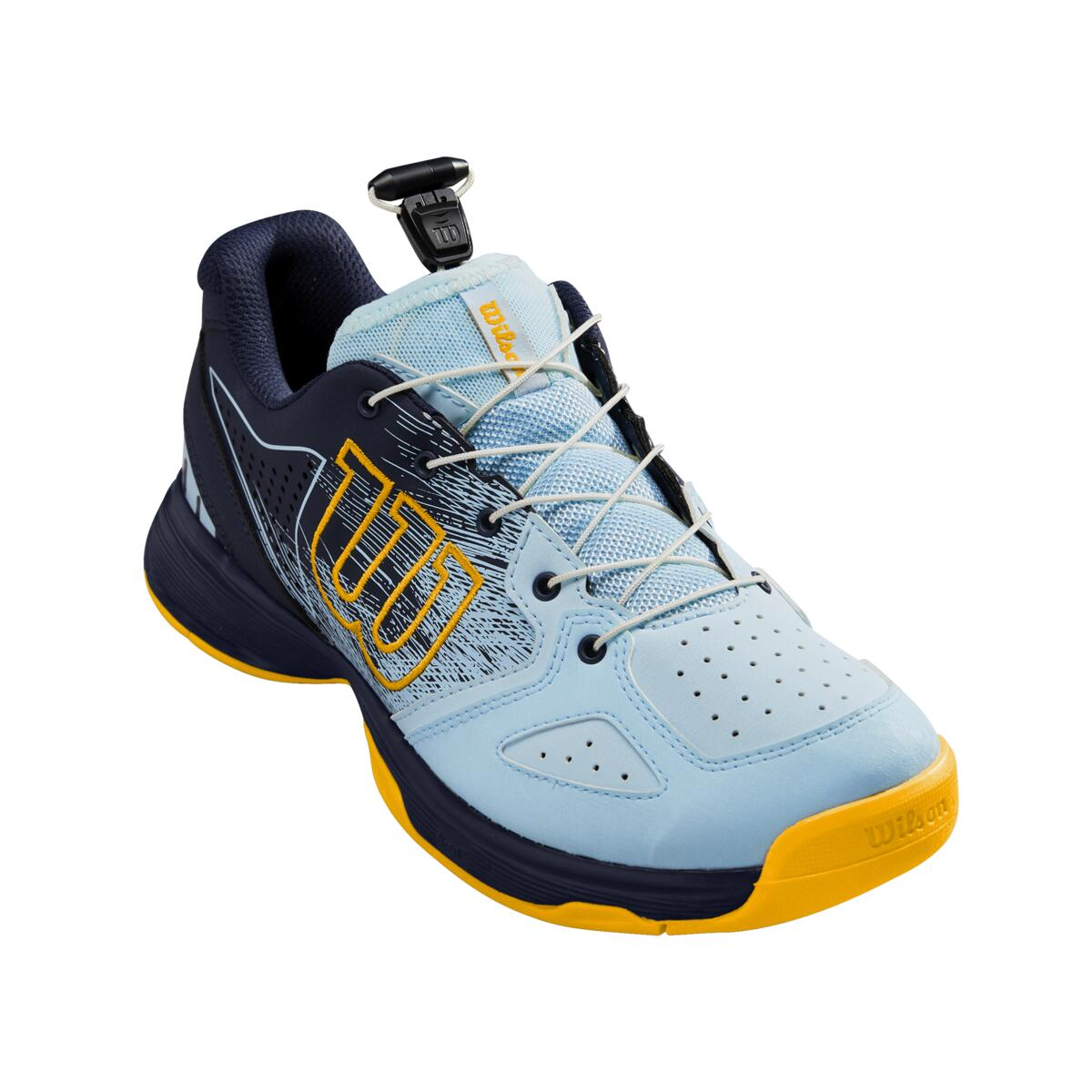 Dětská tenisová obuv Wilson Kaos Junior QL Omphalodes/Peacoat/Gold Velikost: UK 2