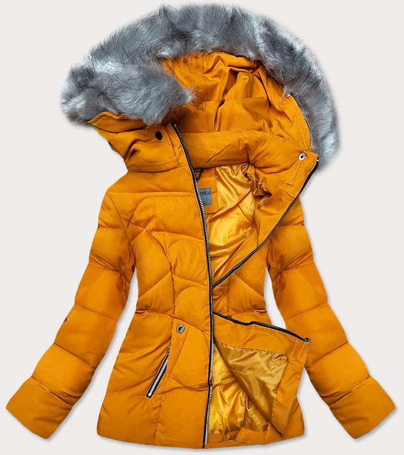 damska-zimna-bunda-s-kapucnou-zlta,damska-bunda-na-zimu-zlta