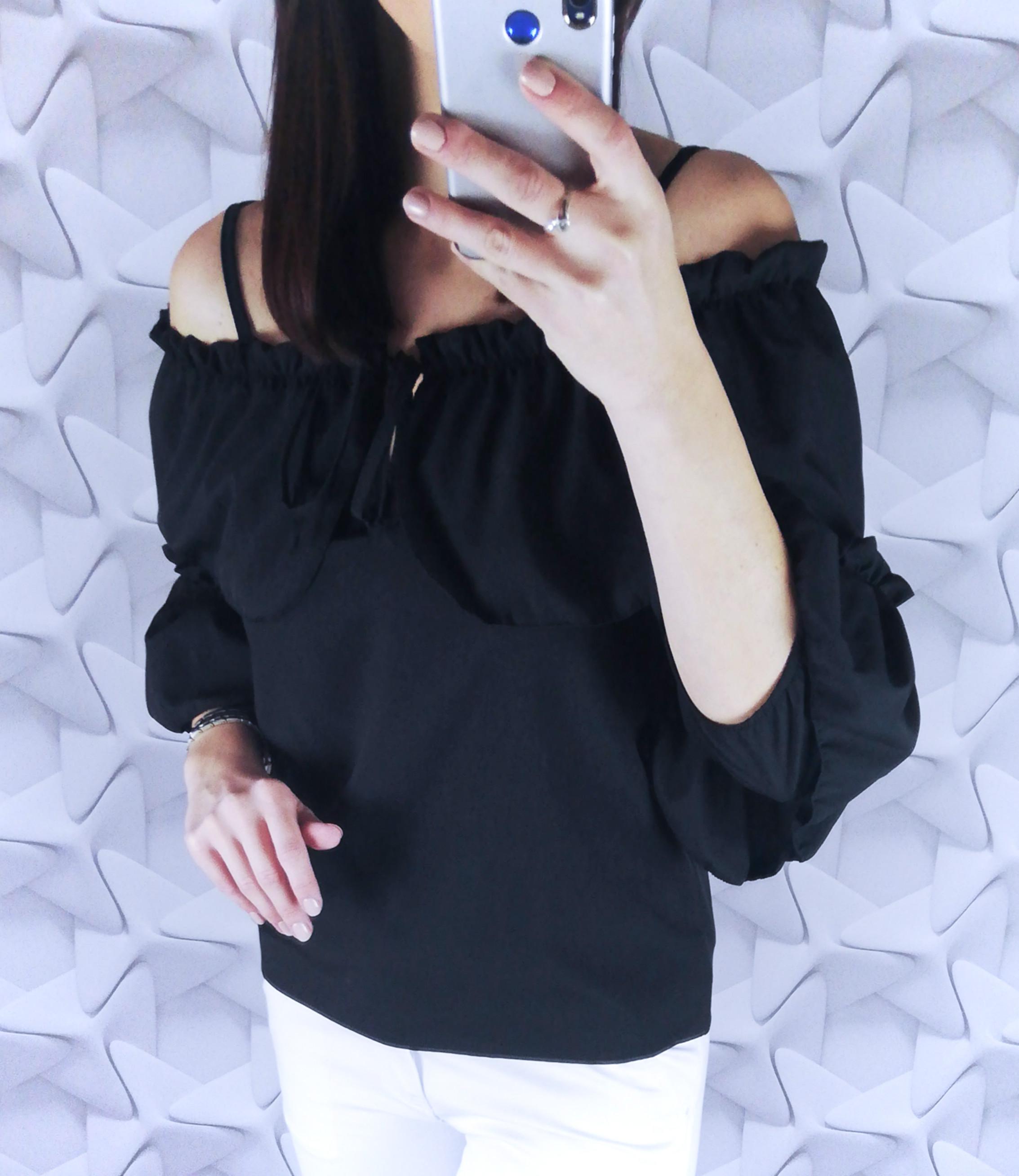 dámsky top,dámska blúzka, elegantná dámska blúzka, blúzka s mašľou,biela blúzka,čierna blúzka s odhalenymi ramenami