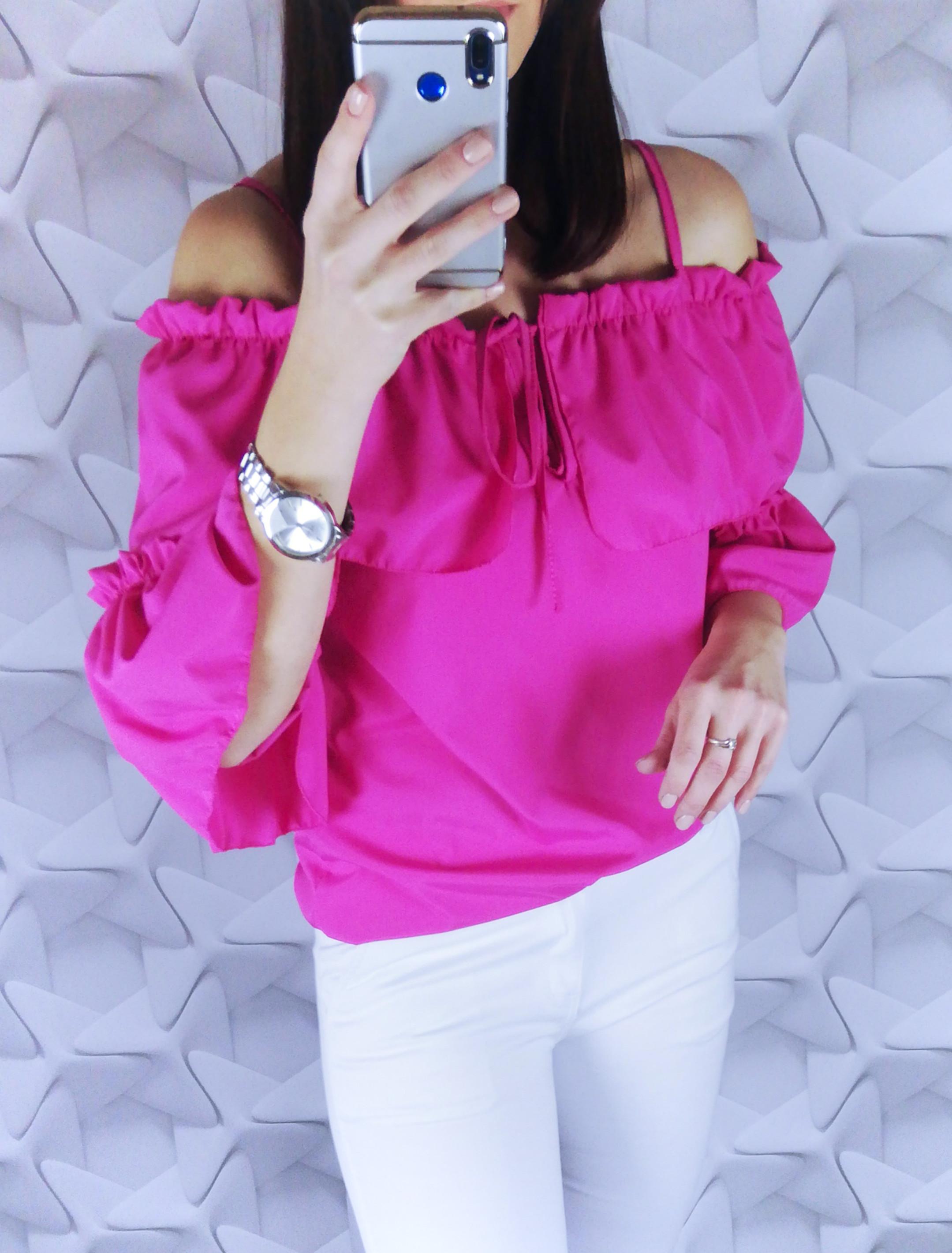 dámsky top,dámska blúzka, elegantná dámska blúzka, blúzka s mašľou,biela blúzka,ružová blúzka s odhalenymi ramenami