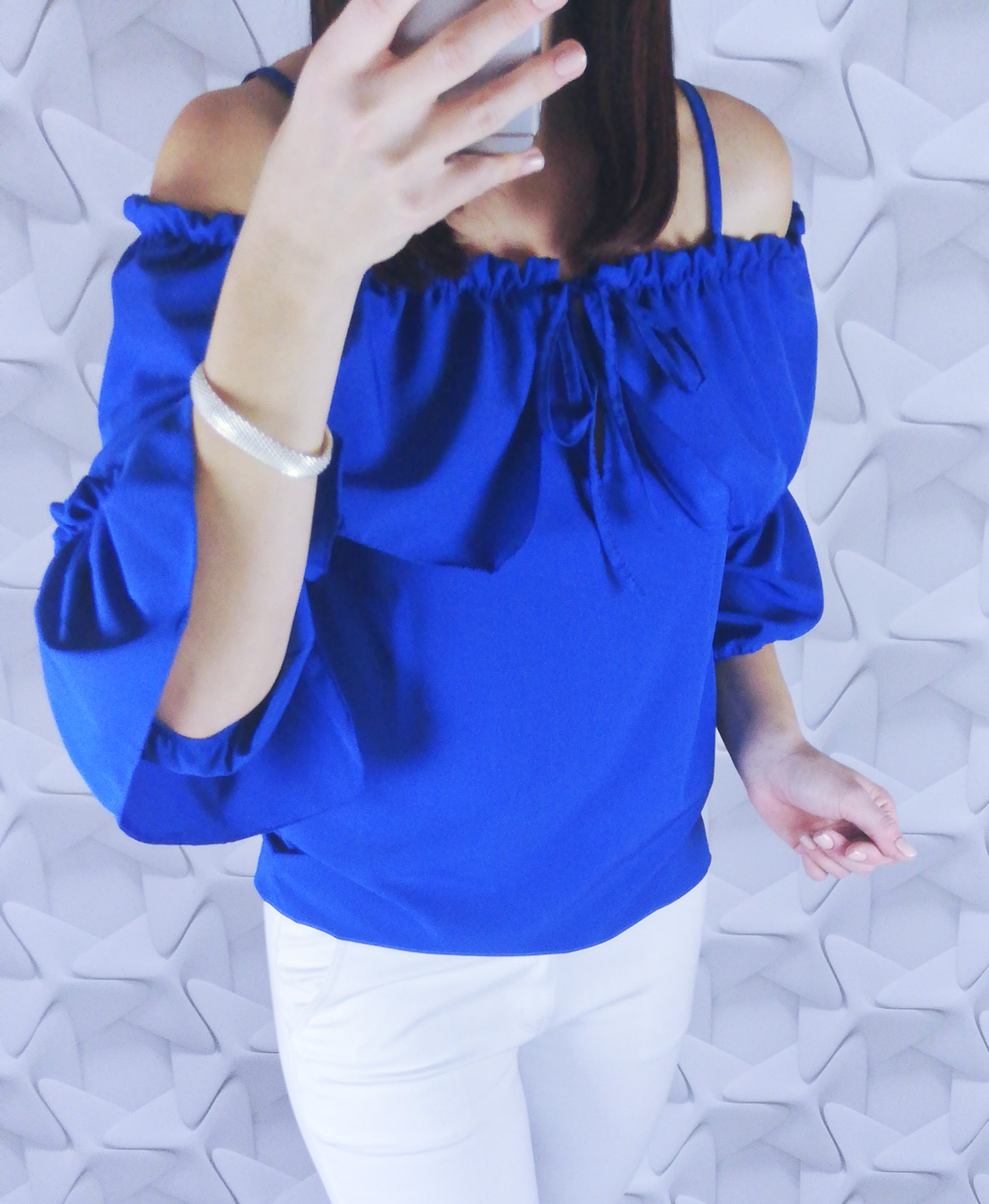 dámsky top,dámska blúzka, elegantná dámska blúzka, blúzka s mašľou,biela blúzka,modrá blúzka s odhalenymi ramenami