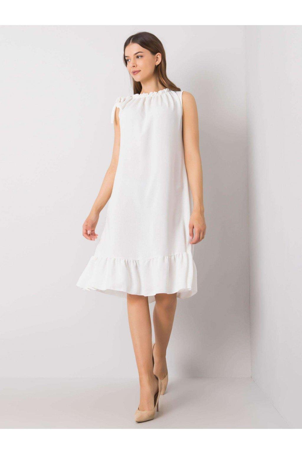 pol pl Biala sukienka z falbana Domenica 364629 1