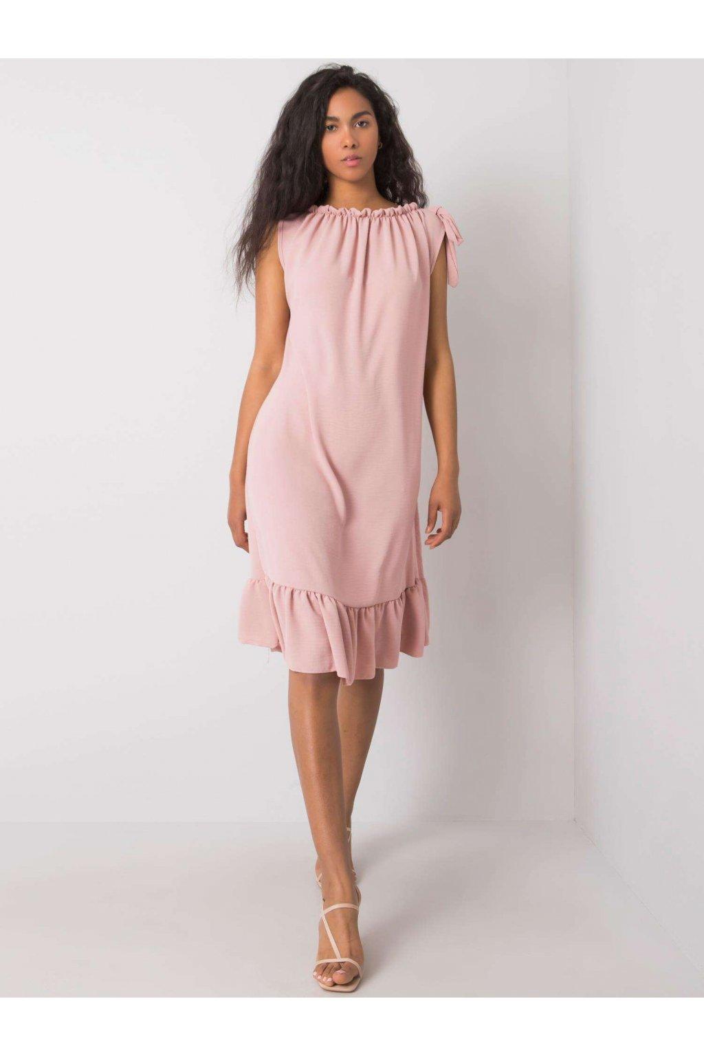 pol pl Brudnorozowa sukienka z falbana Domenica 364628 1