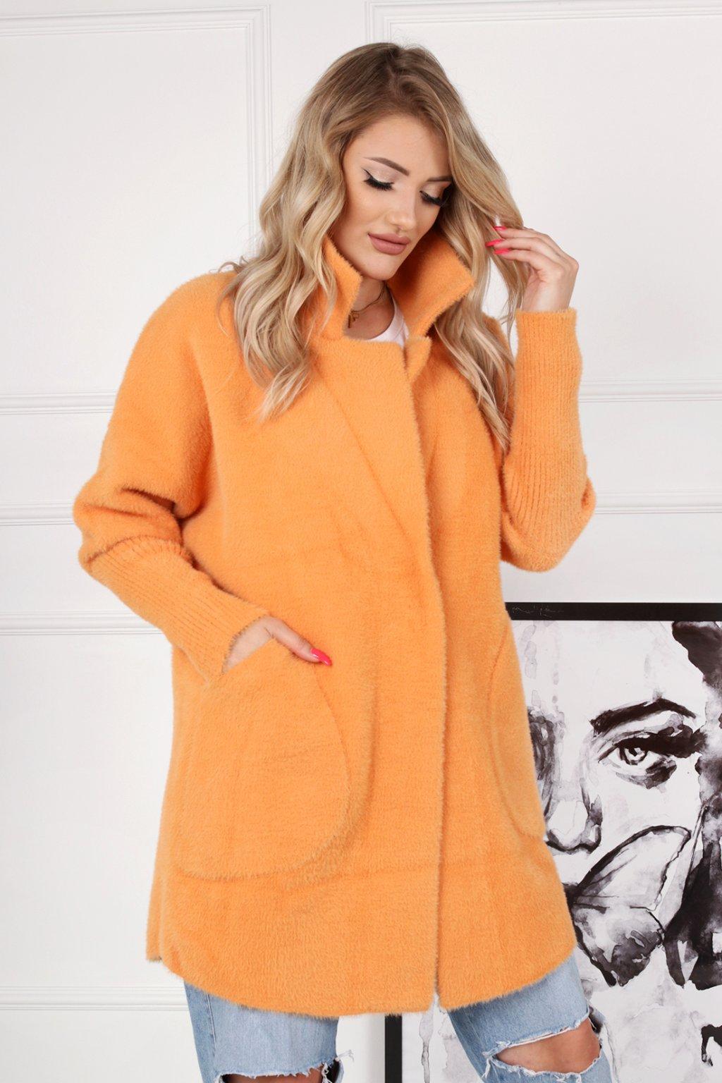 Dámsky kabát z alpaky Júlia oranžový