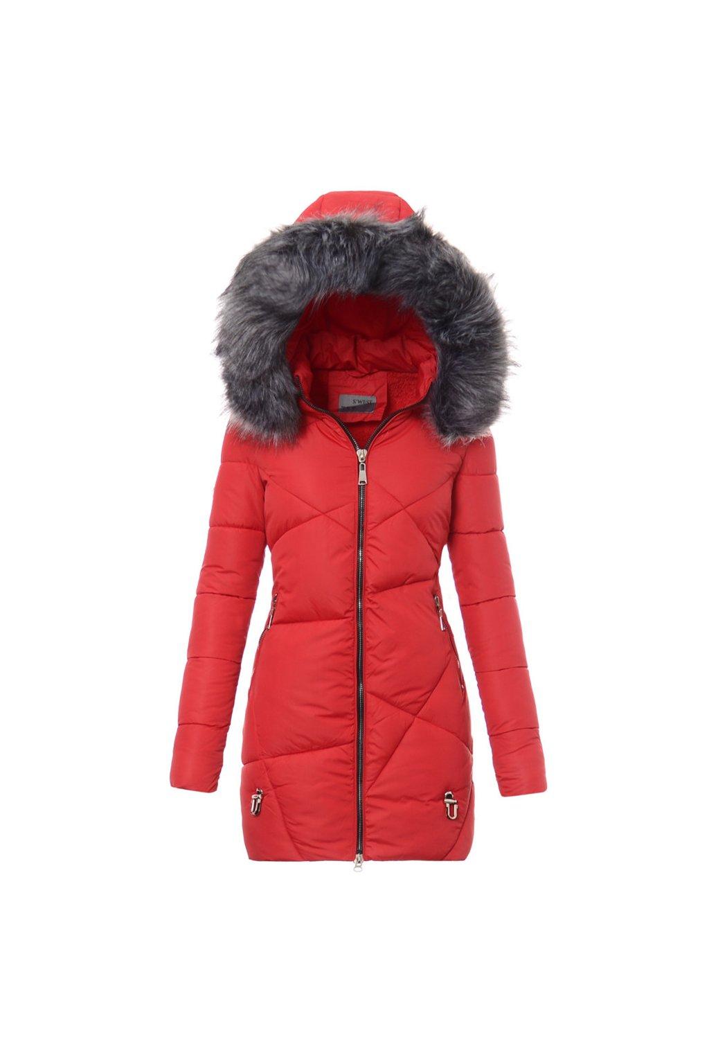 Dámska dlhá zimná bunda s kapucňou 5504 červená