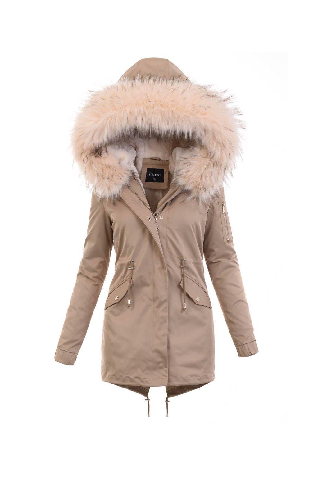 Dámska zimná bunda parka 2v1 6016 béžová