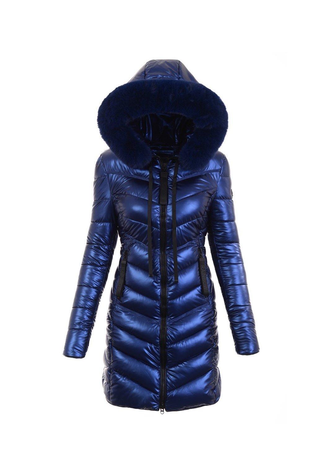 Dámska dlhá zimná bunda s kapucňou 6018 modrá