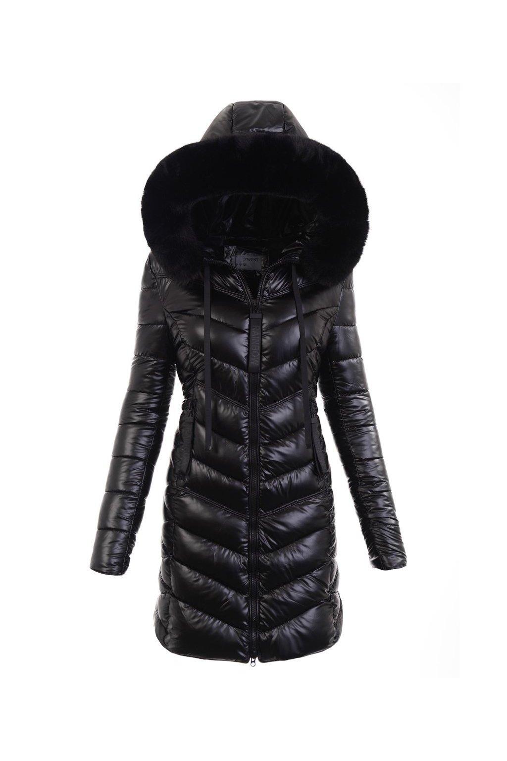 Dámska dlhá zimná bunda s kapucňou 6017 čierna