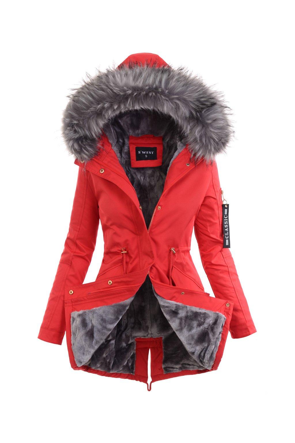 Dámska zimná bunda parka s kožušinou 6038 červená
