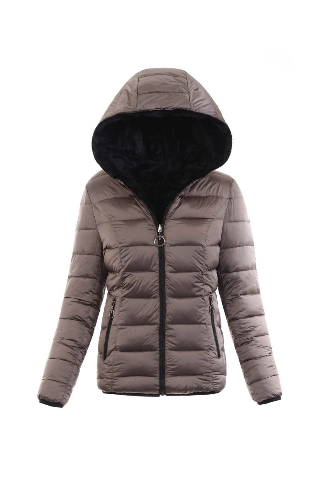 Dámska zimná bunda s kapucňou 6007 kávová