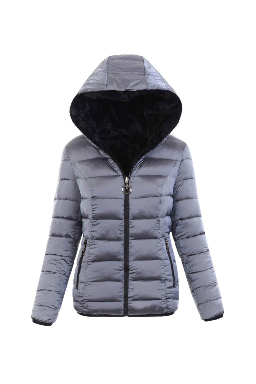 Dámska zimná bunda s kapucňou 6006 šedá