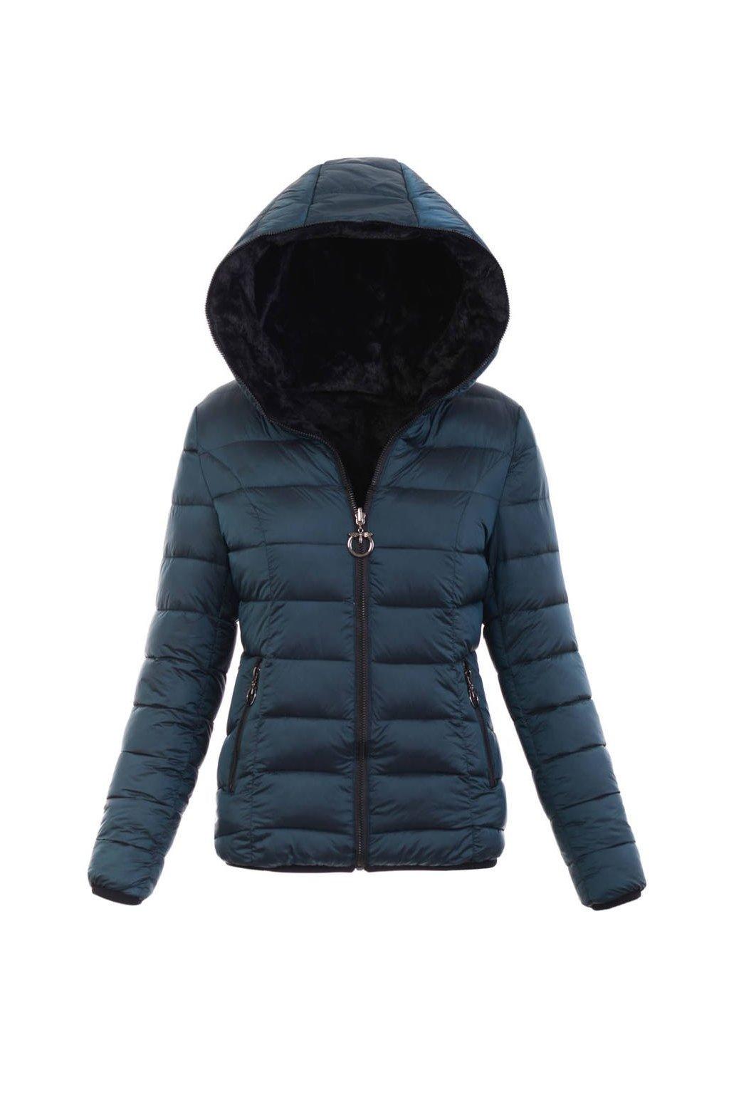Dámska zimná bunda s kapucňou 6005 tmavozelená