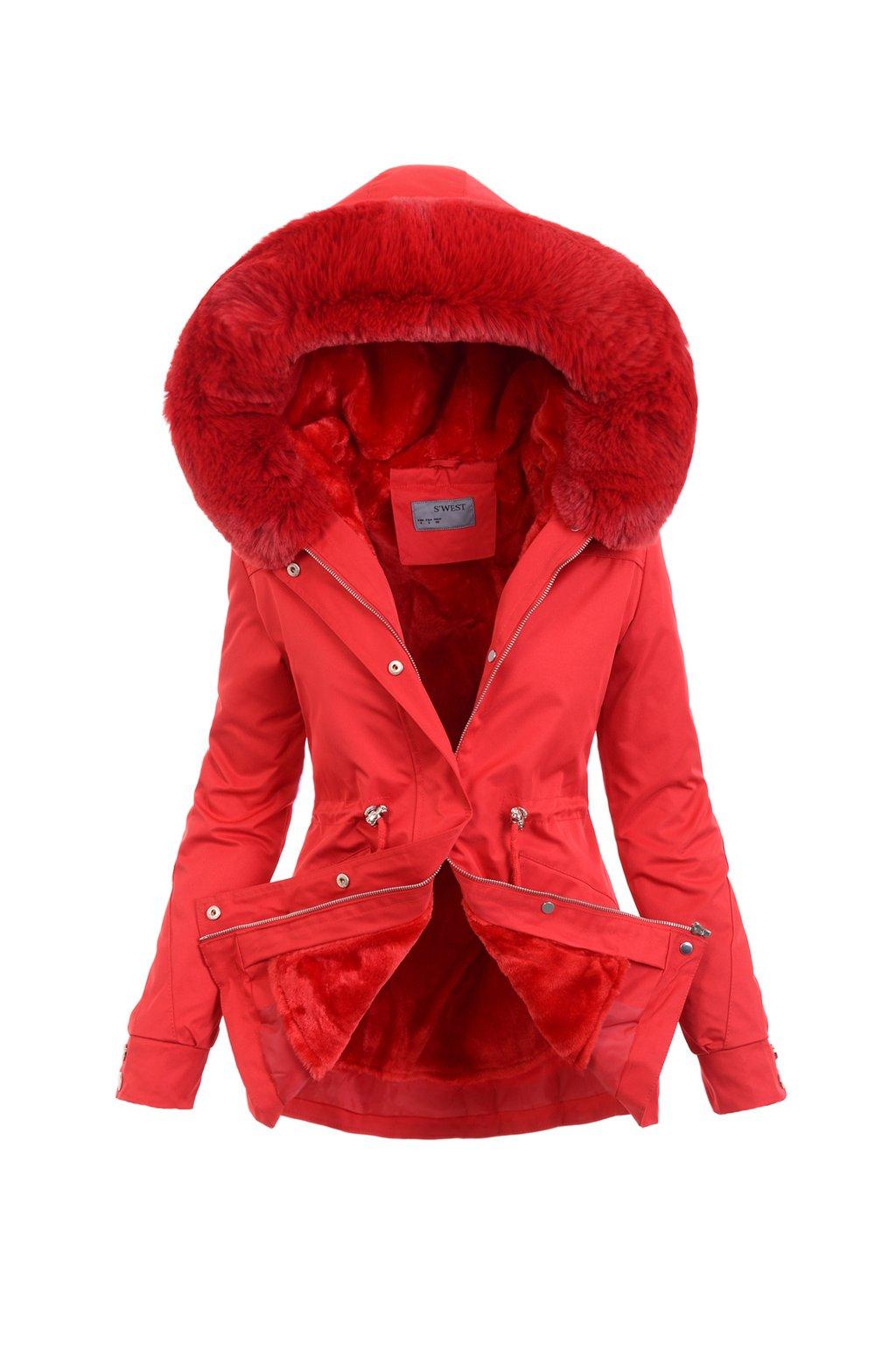 Dámska zimná bunda parka 2v1 6103 červená