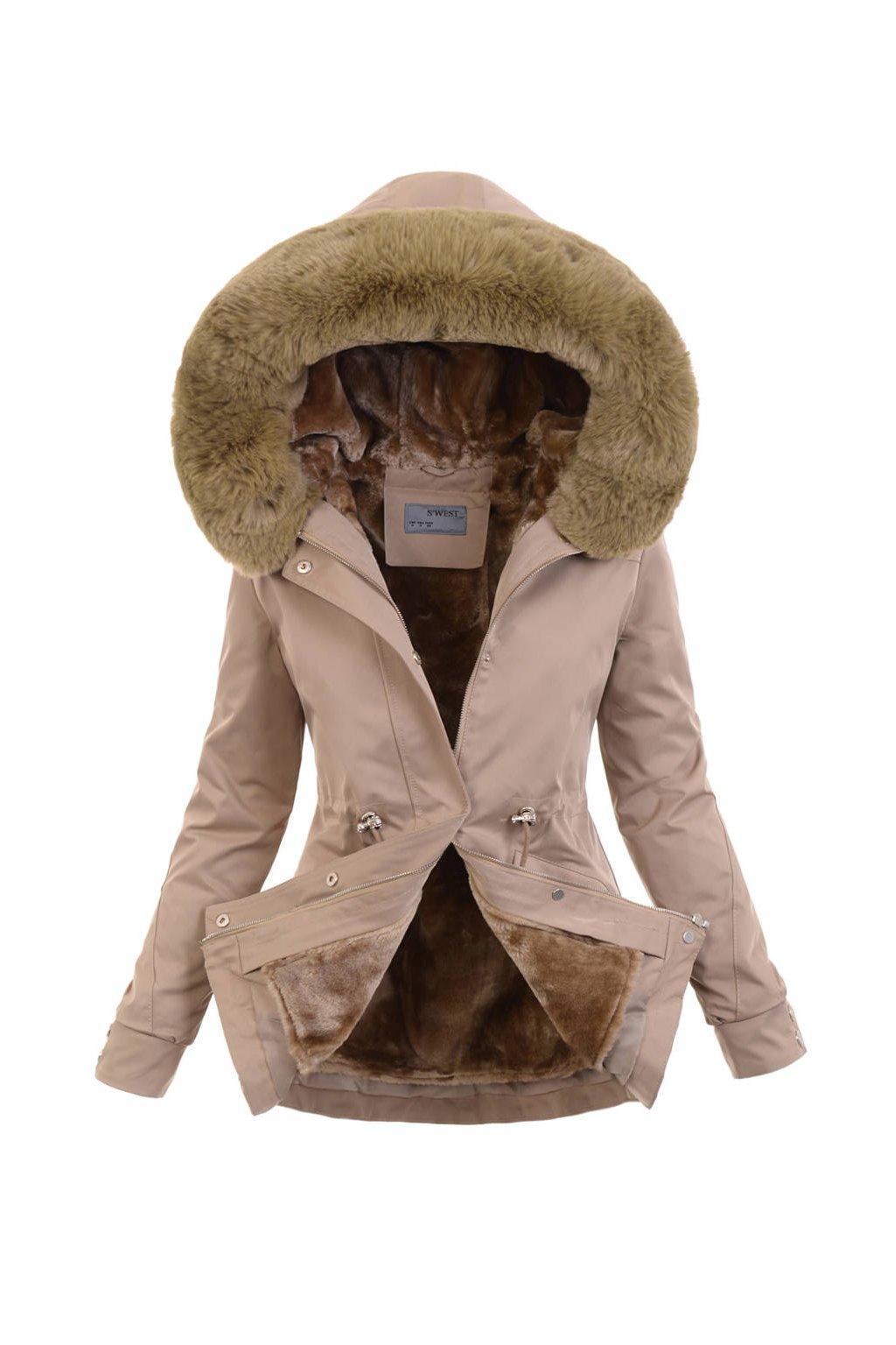 Dámska zimná bunda parka 2v1 6104 béžová
