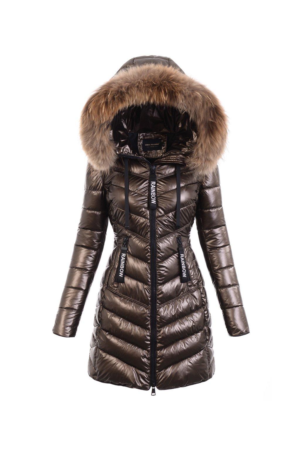 Dámska dlhá zimná bunda s pravou kožušinou  6115 hnedá