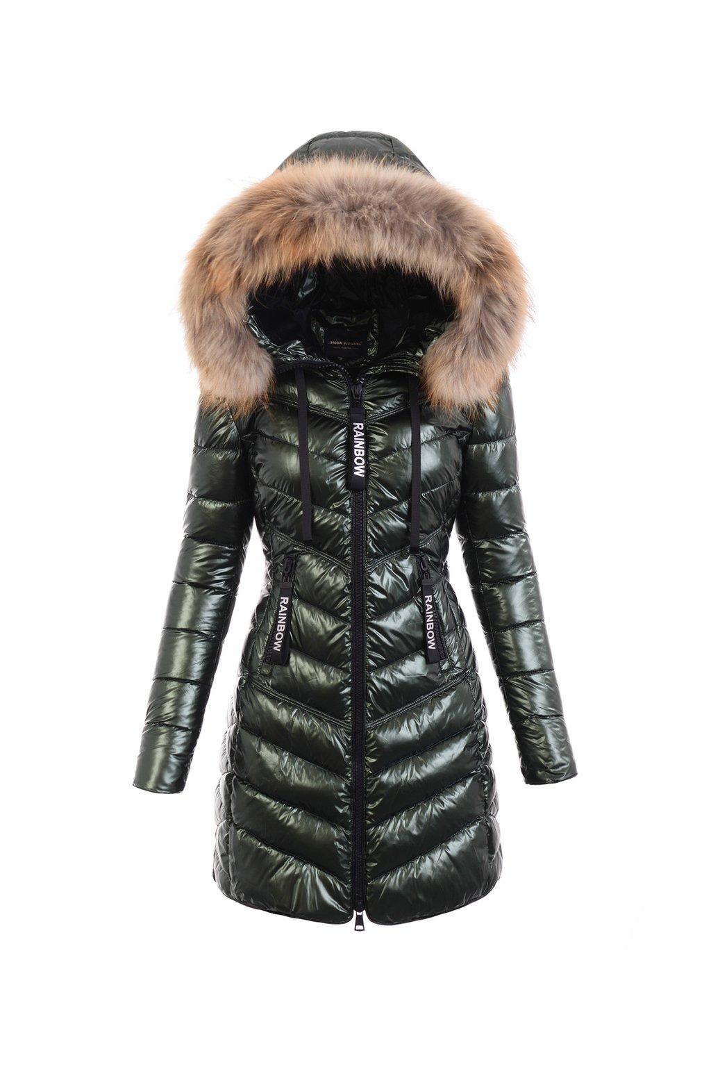 Dámska dlhá zimná bunda s pravou kožušinou  6114 zelená