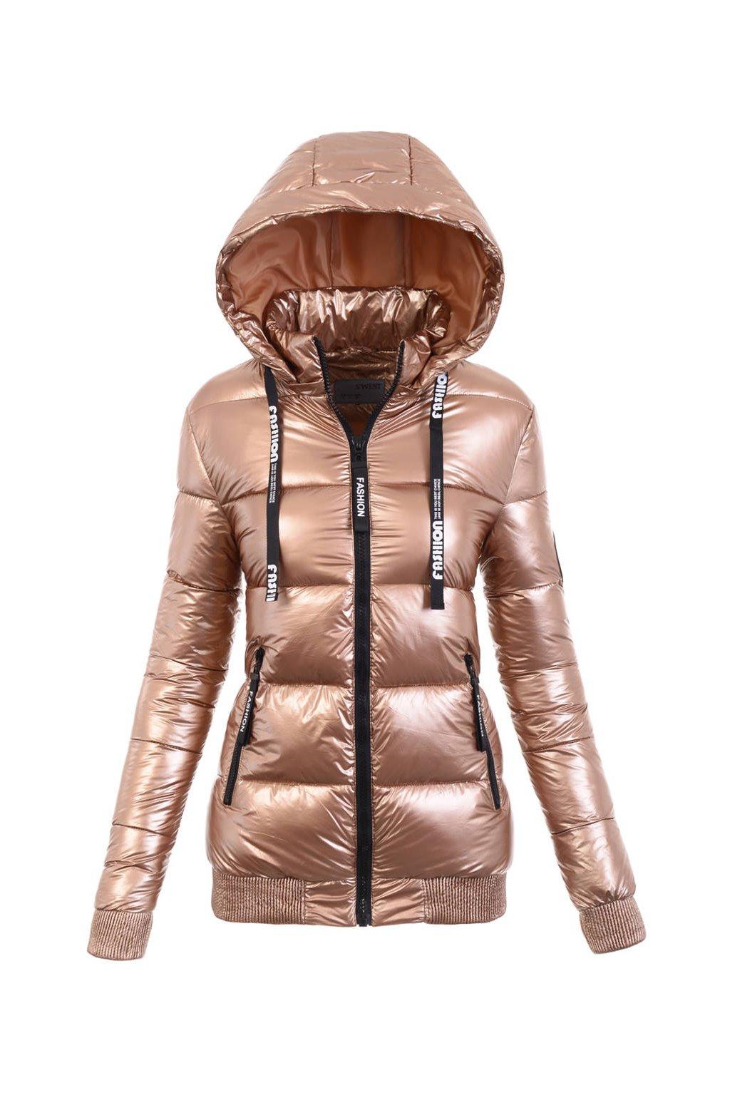 Dámska zimná bunda s kapucňou 6109 zlatá