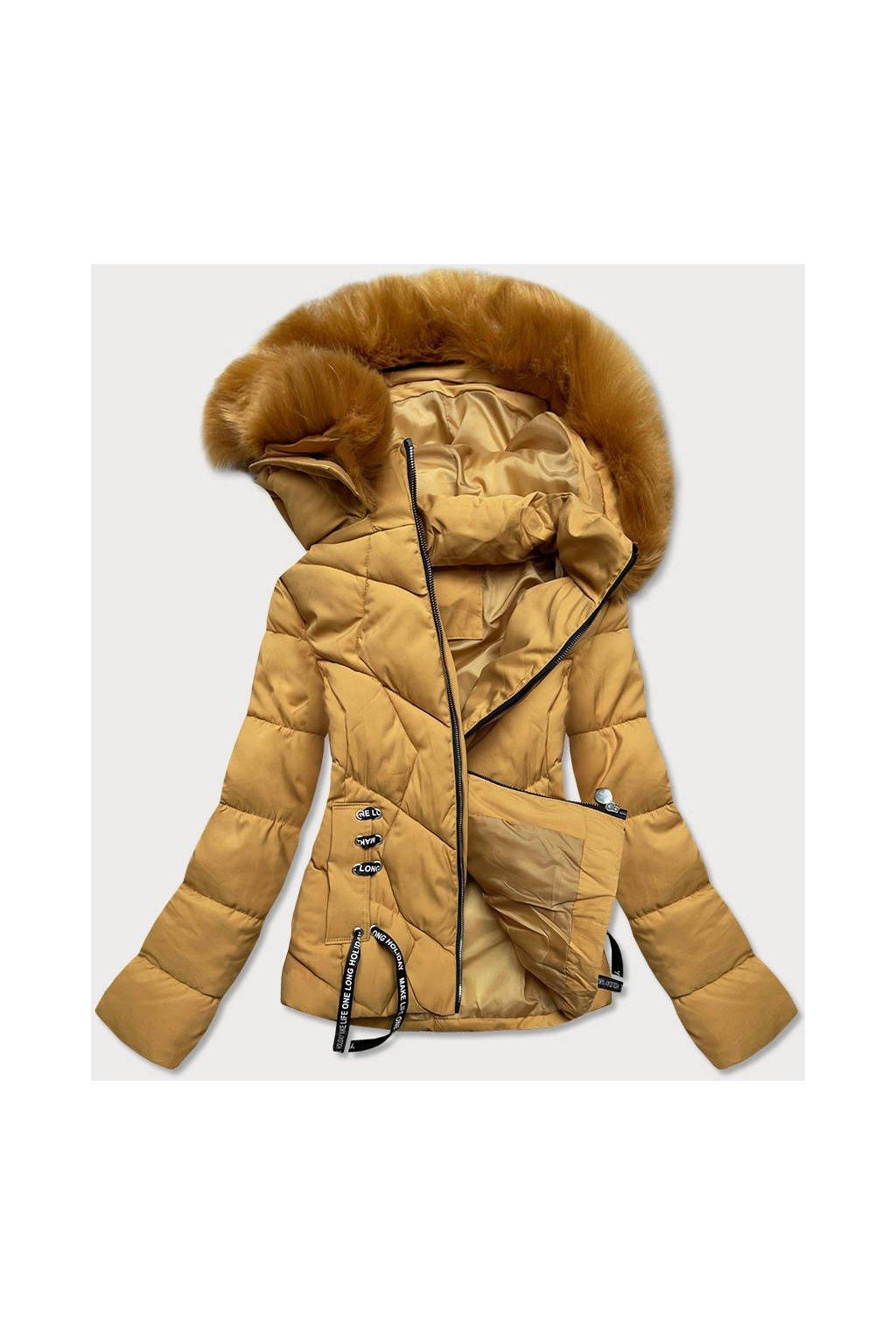 Dámska zimná bunda s kapucňou H1021-80 žltá