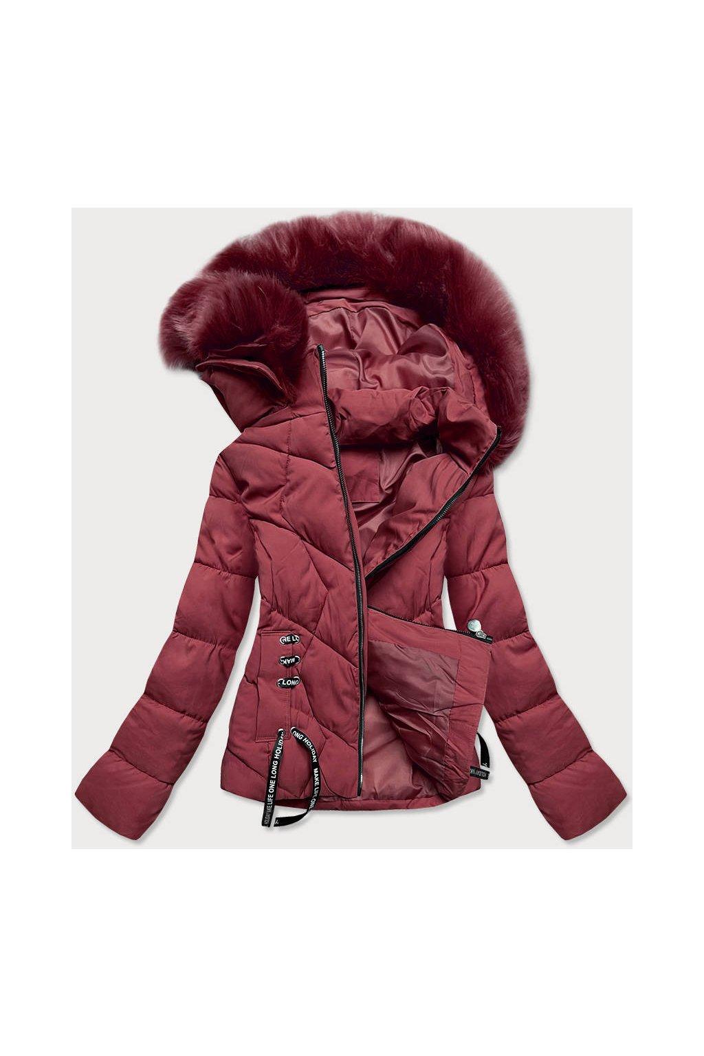 Dámska zimná bunda s kapucňou H1021-80 bordová