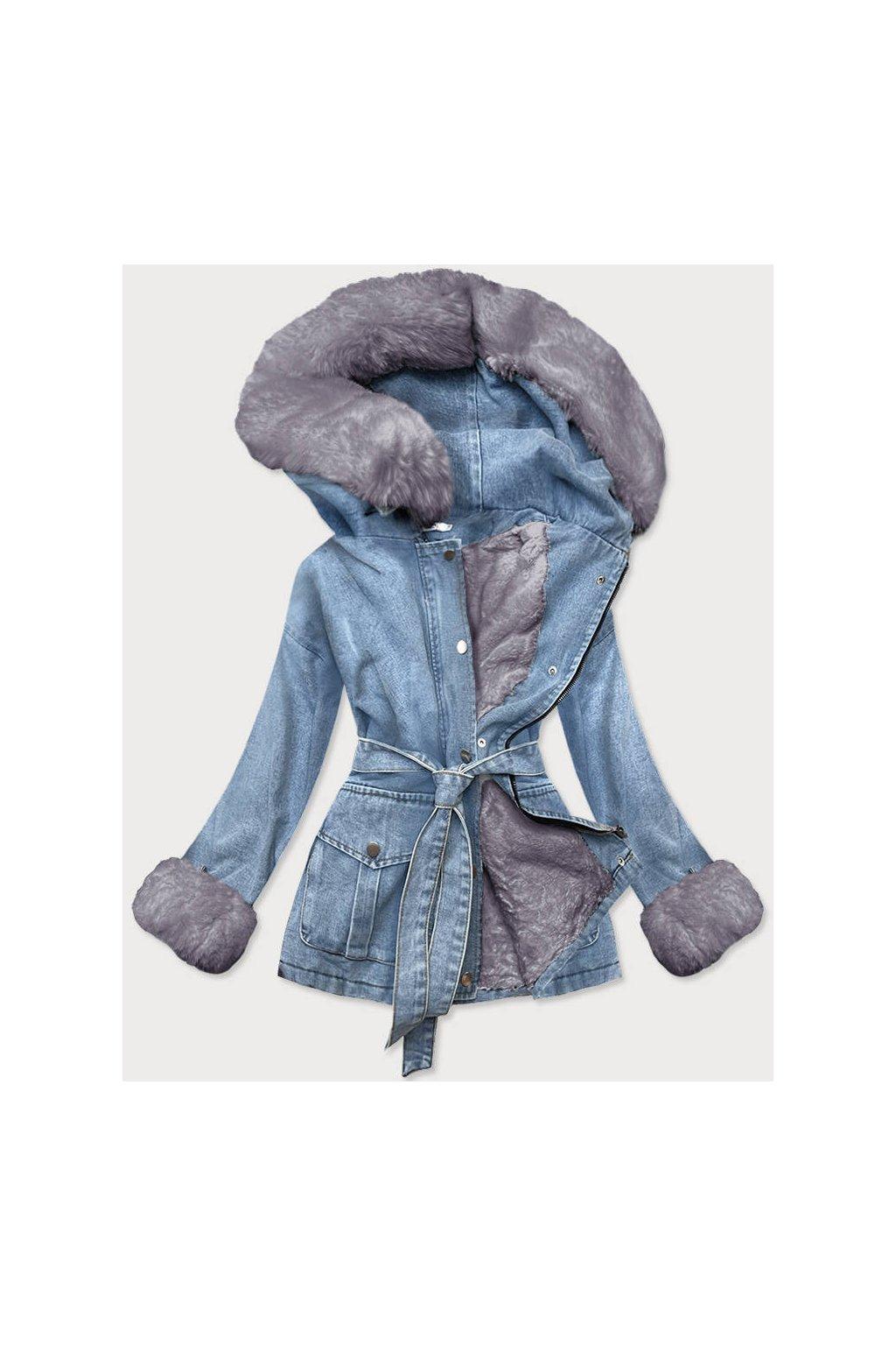 Dámska zimná rifľová bunda s  kožušinou 9026 modrošedá
