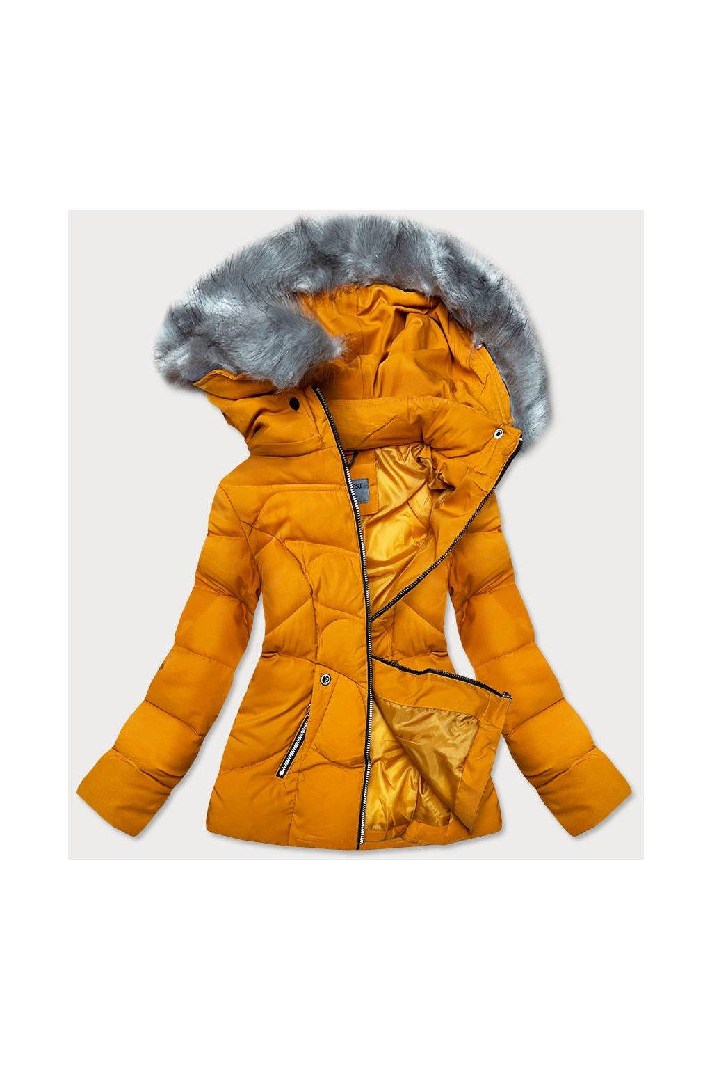 Dámska zimná bunda s kapucňou B9538-3 žltá