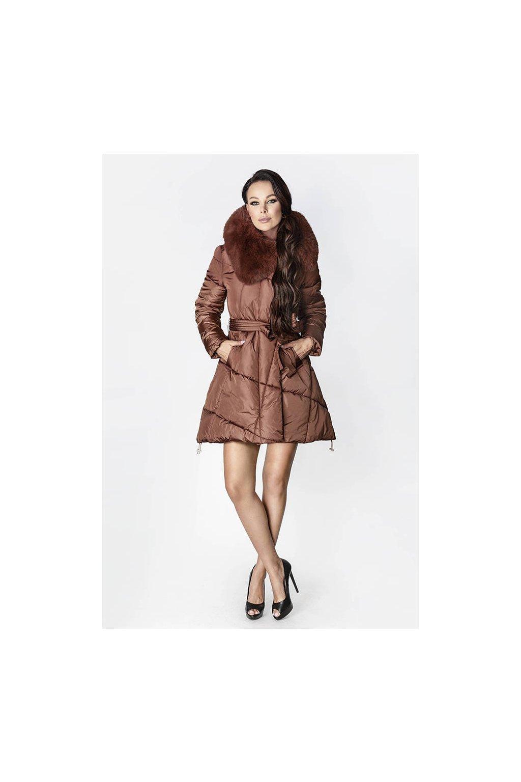 Dámska dlhá zimná bunda s kapucňou 008 hnedý