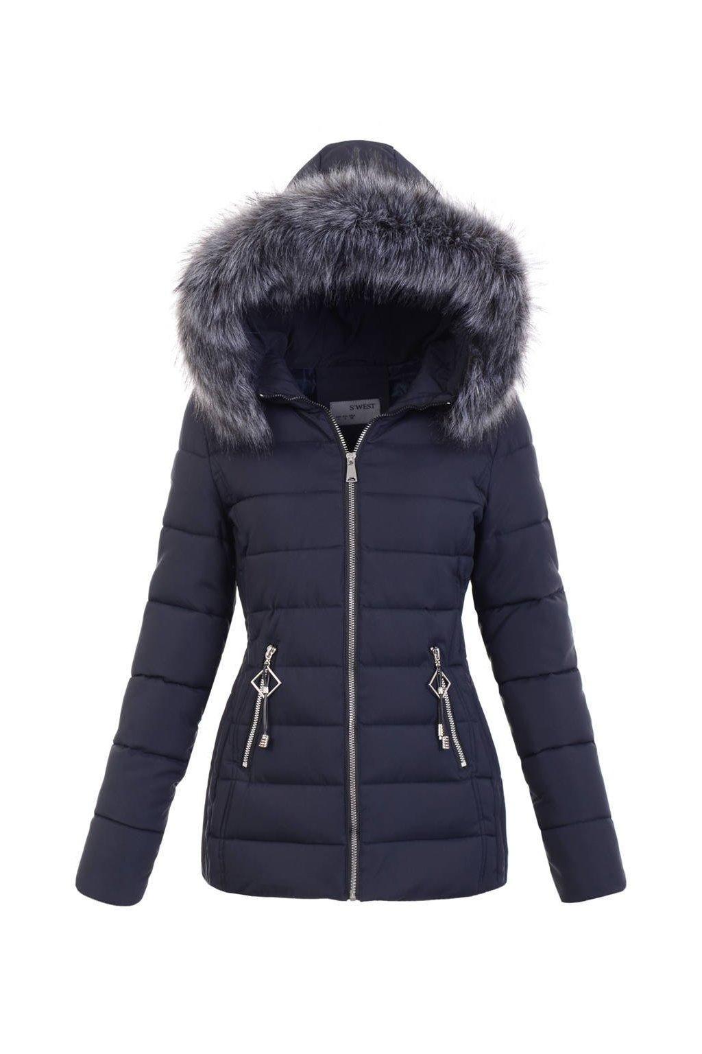 Dámska zimná bunda s kapucňou 6231 modrá