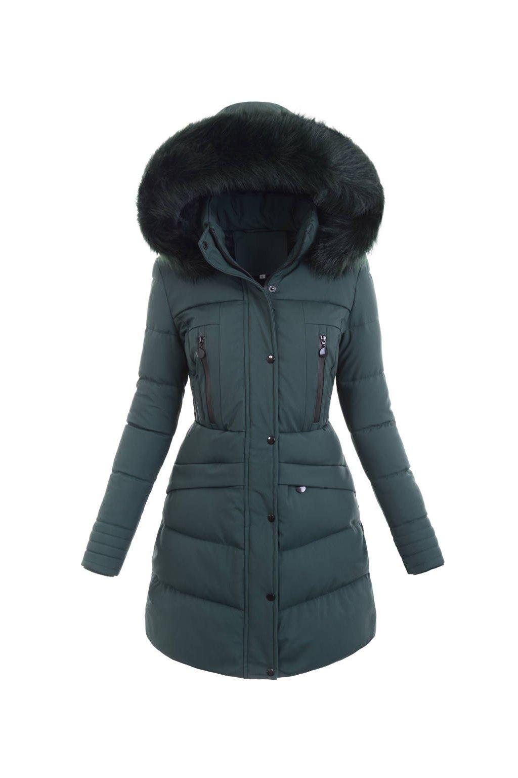 Dámska dlhá zimná bunda s kapucňou 6358 zelená