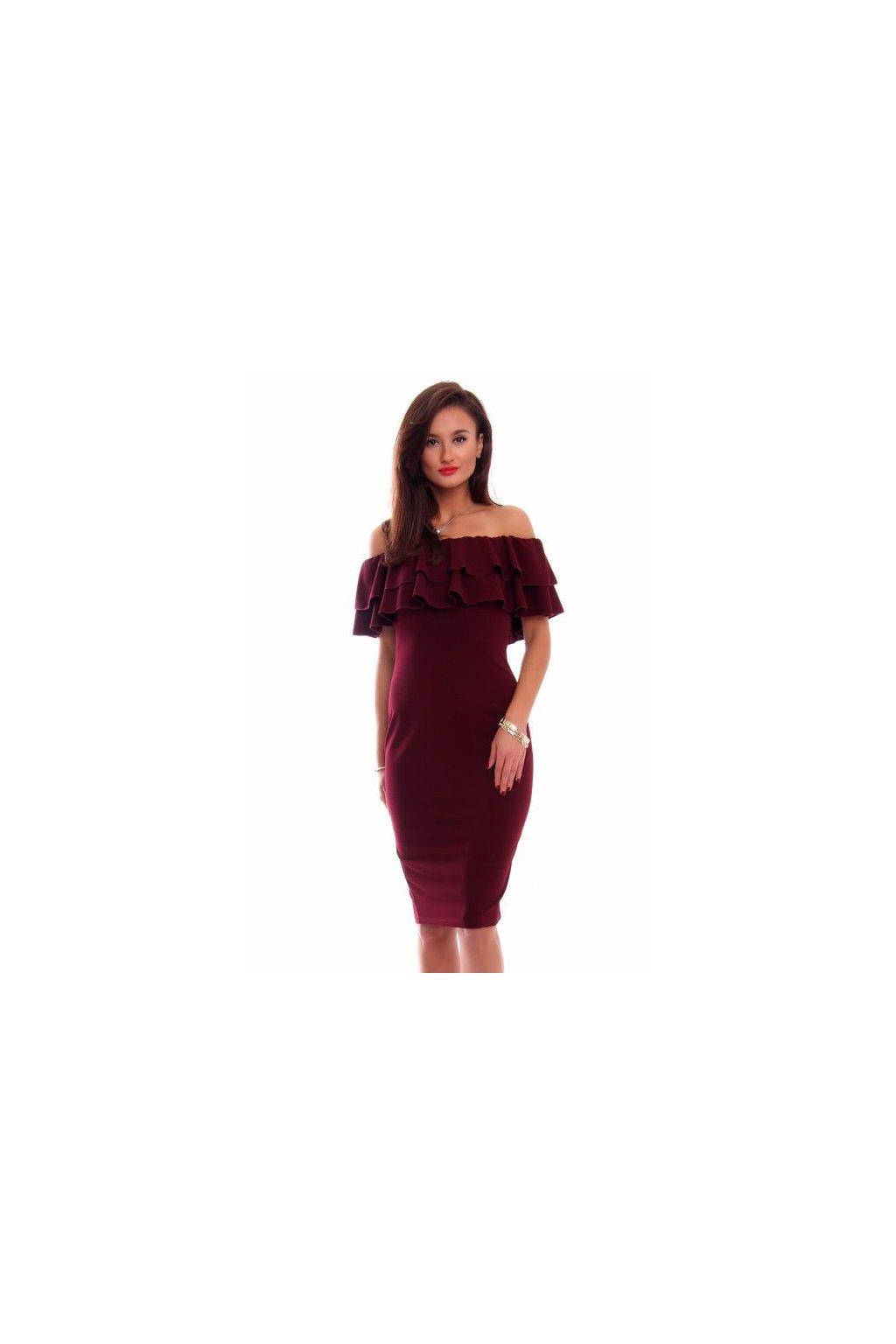 Elegantné šaty s volánom bordové - Tentation.sk e2424f3e55c