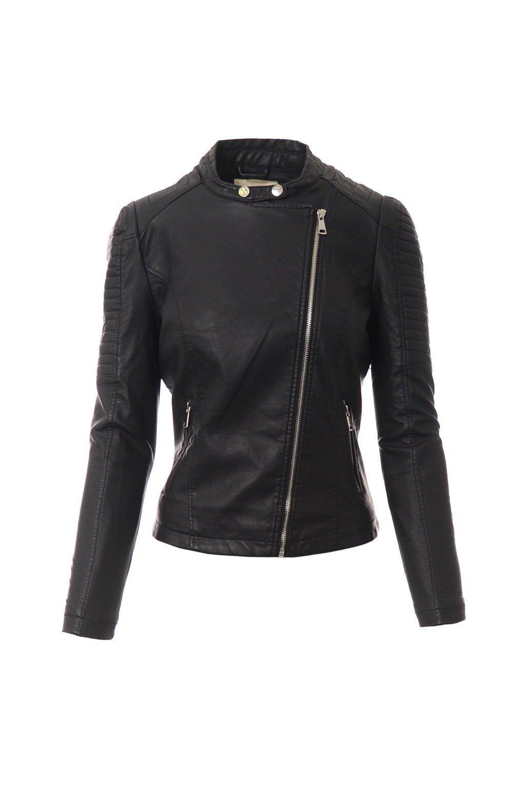 Dámska kožená bunda 4108 čierna