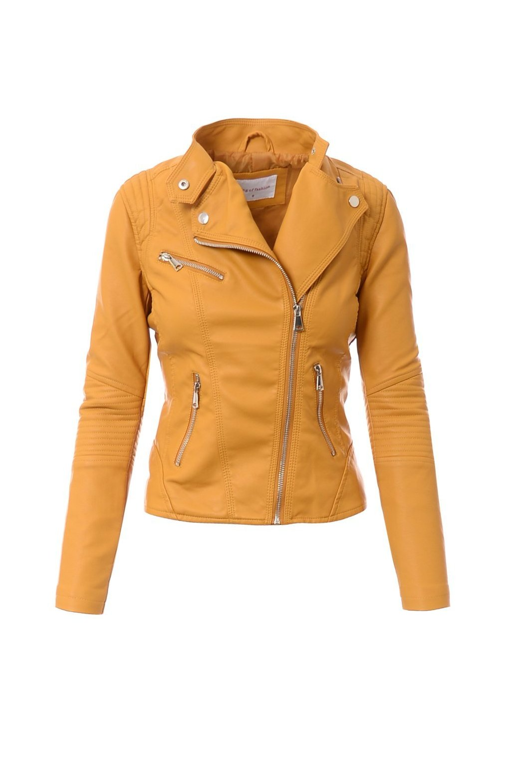 Dámska kožená bunda biker 4102 žltá