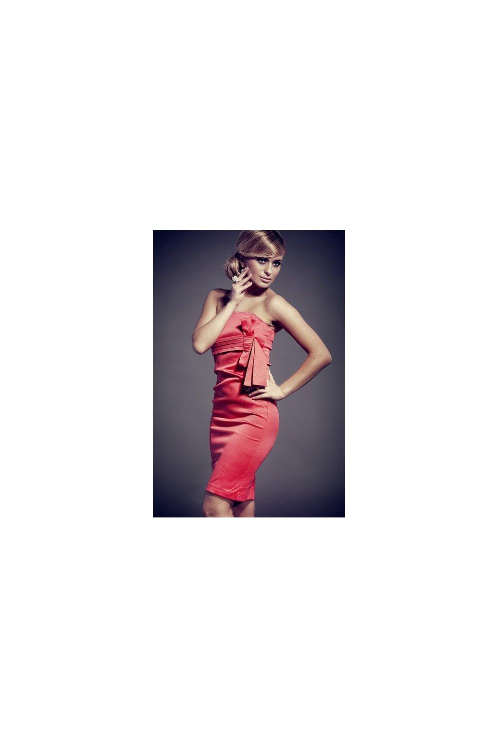 e7d339c0355f Koktejlové šaty s mašľou červené-Tentation.sk