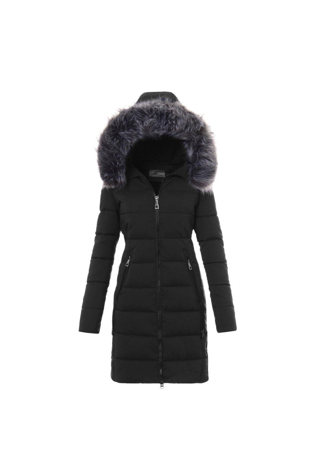 Dámska dlhá zimná bunda s kapucňou 3476 čierna