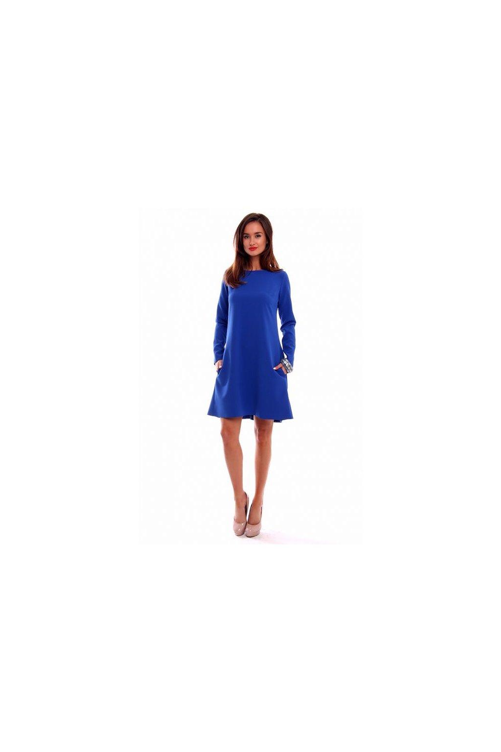 cc22f04f9b52 Elegantné šaty s dlhým rukávom CM510 modré - Tentation.sk