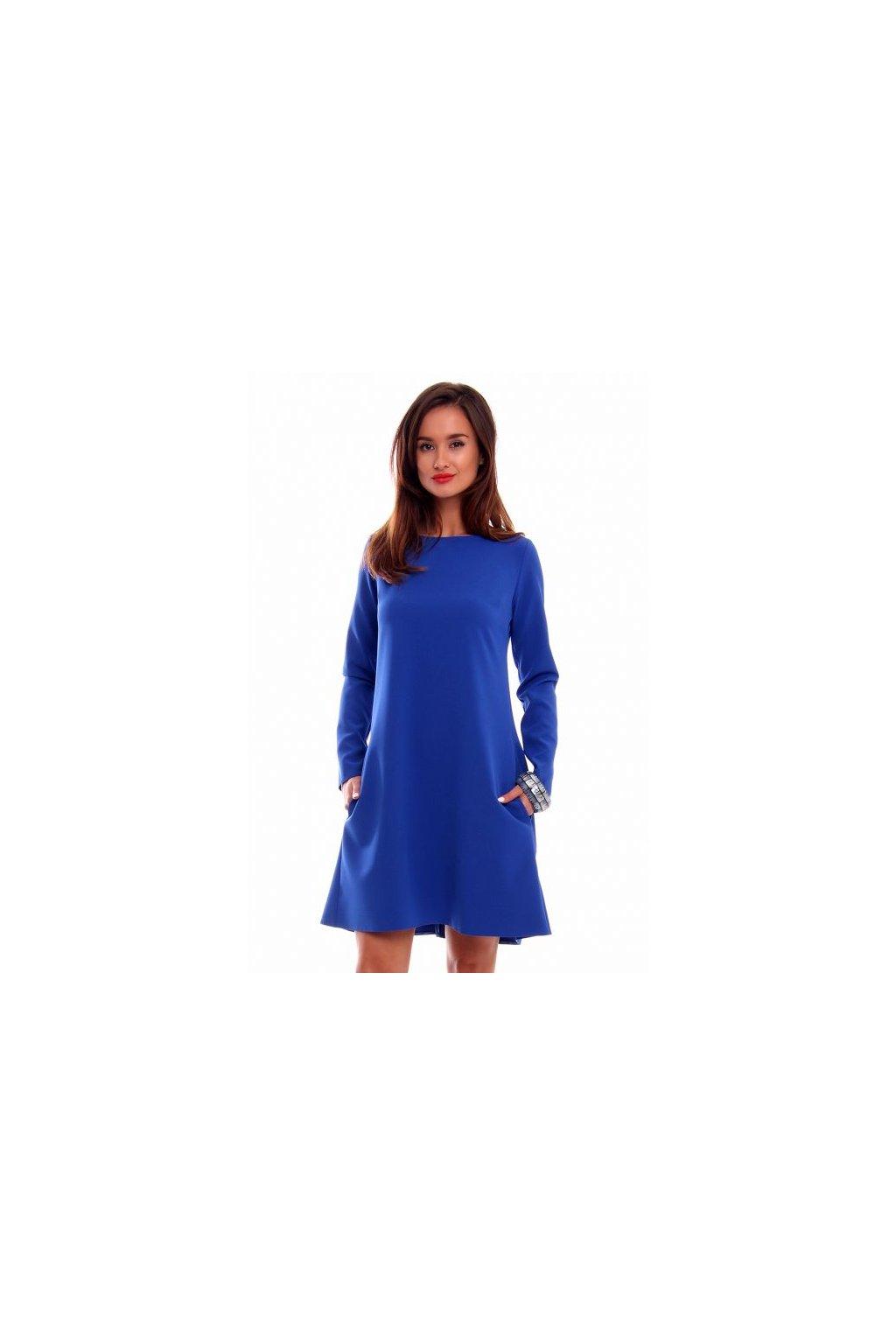 Elegantné šaty s dlhým rukávom CM510 modré - Tentation.sk df5d35f2549