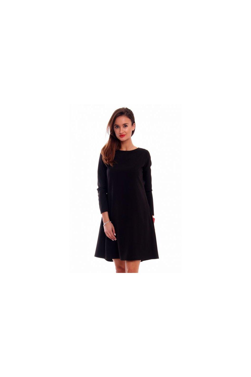 4396d977be9e Elegantné šaty s dlhým rukávom CM510 čierne - Tentation.sk