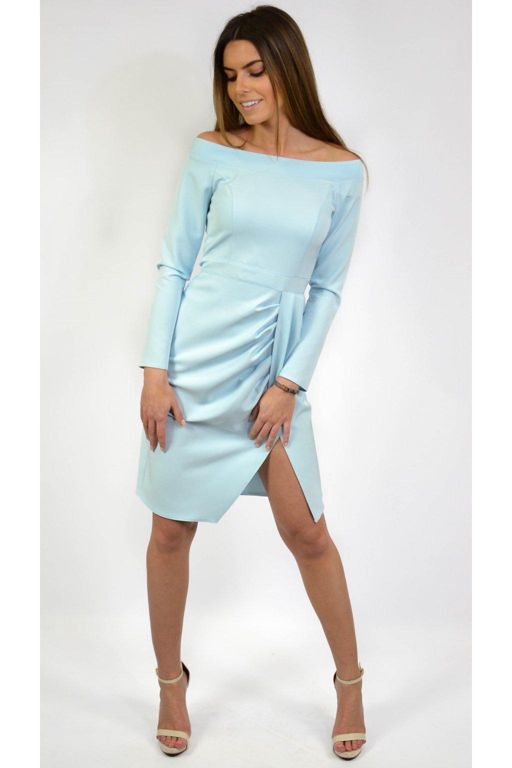 9f17cb647151 Elegantné koktejlové šaty 6975 modré - Tentation.sk