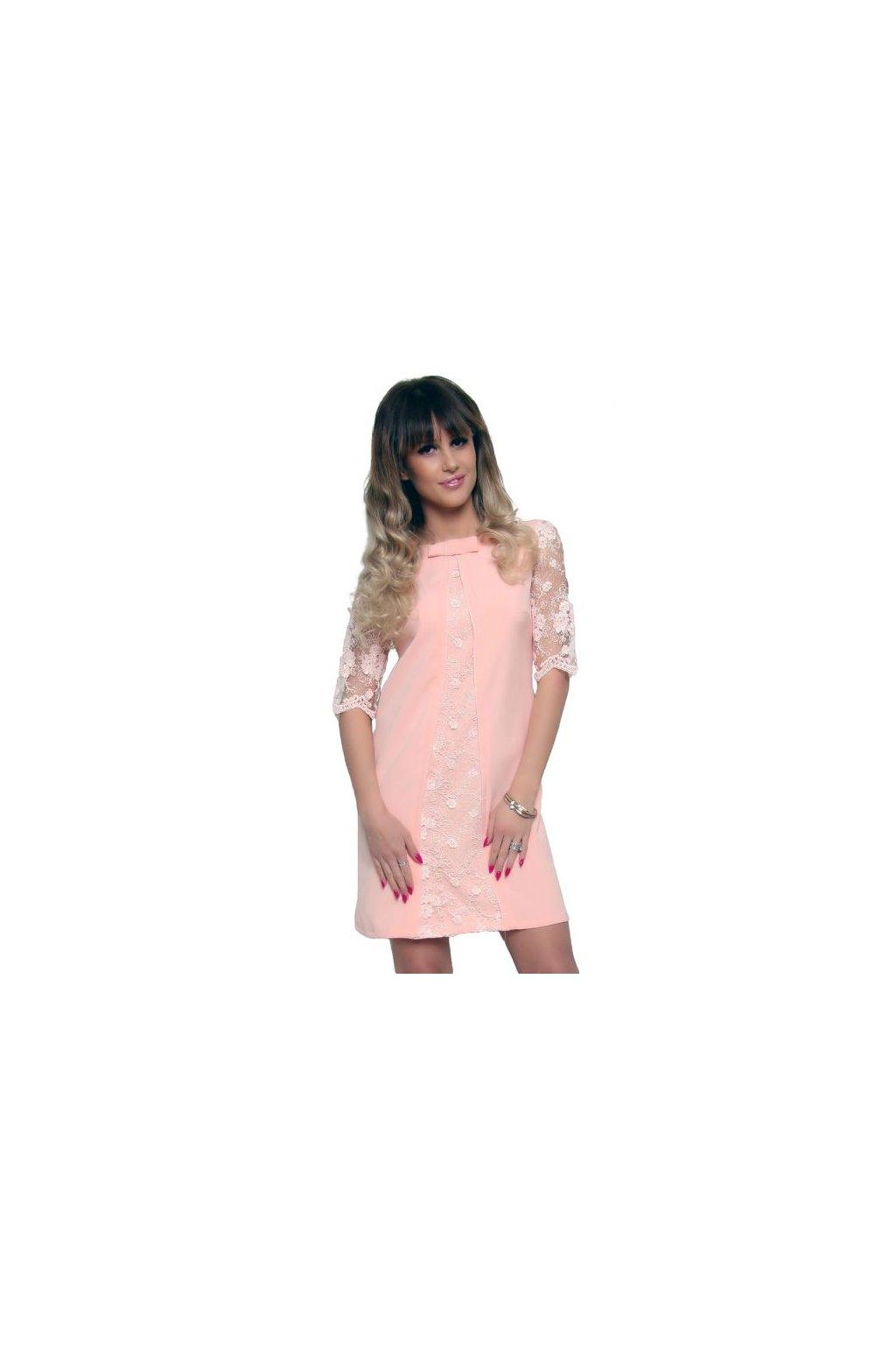 Koktejlové šaty s čipkou CM452 ružové - Tentation.sk 366592fc540