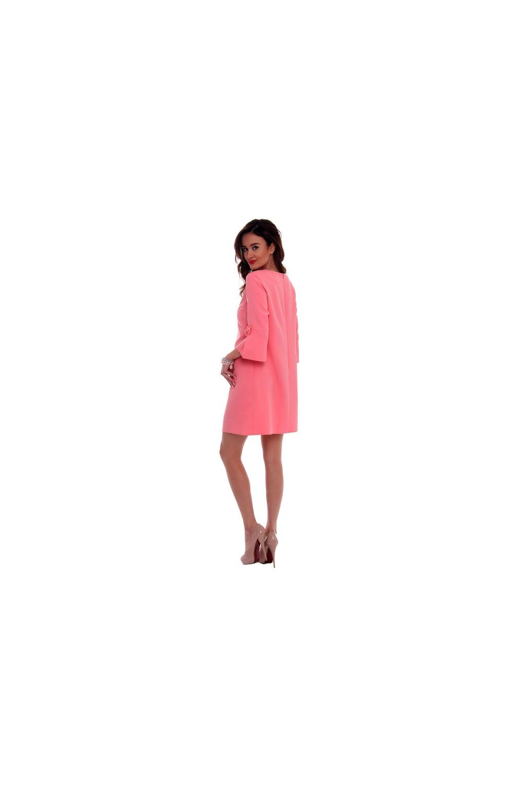 Koktejlové šaty s mašľou CMK409 koralové - Tentation.sk 1295a58a42