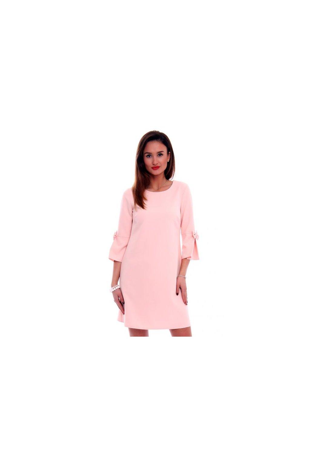 Koktejlové šaty s mašľou CMK409 ružové - Tentation.sk 876ca50513