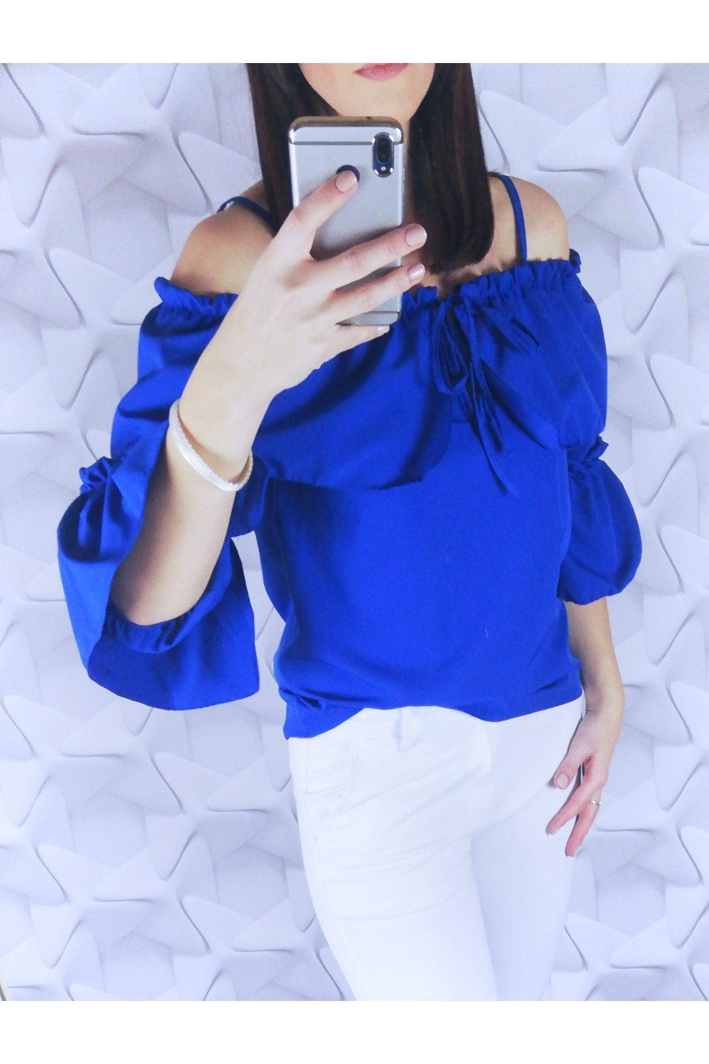 Dámska blúzka s viazaním modrá