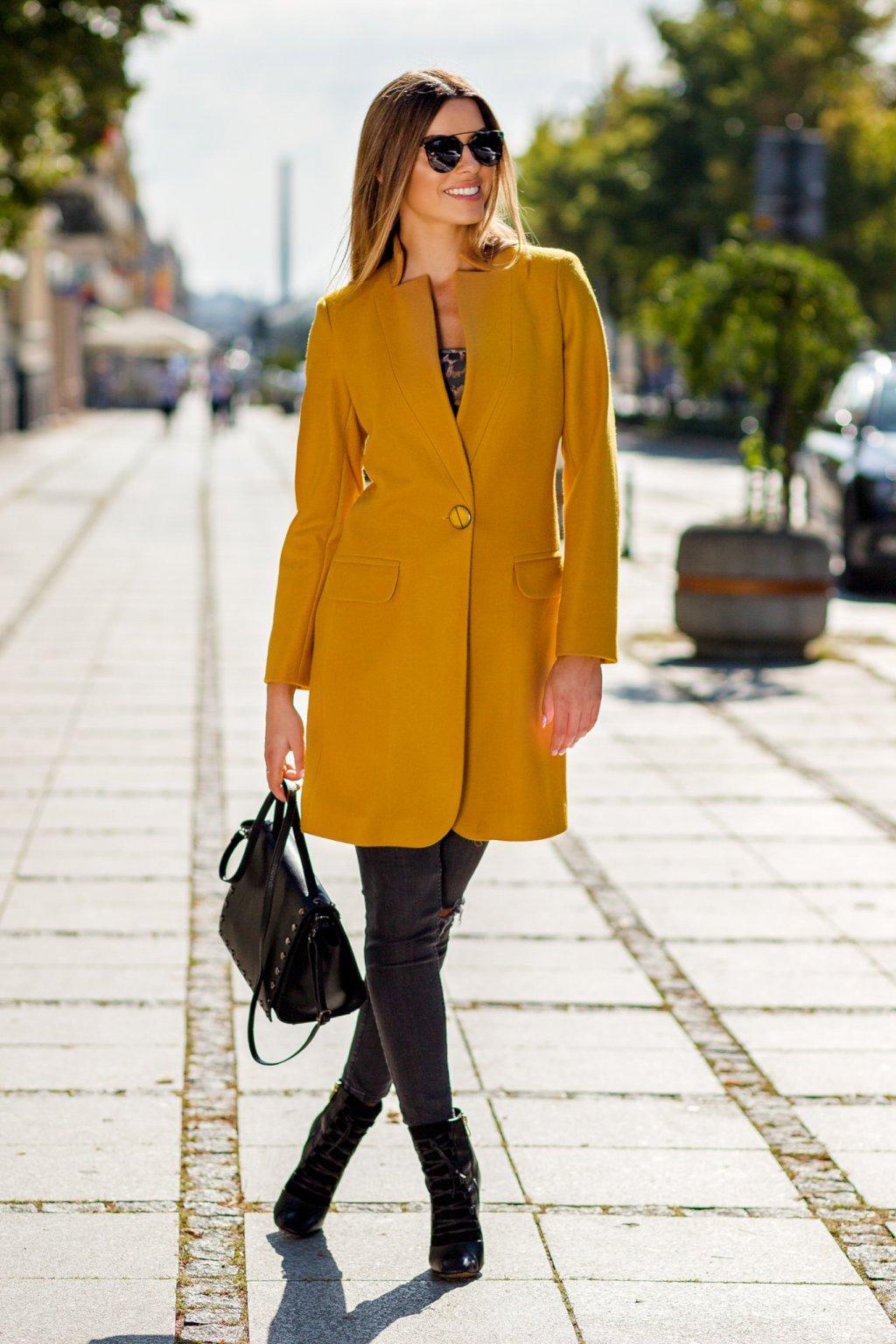 Dámsky prechodný kabát 7905 muškátovo žltý