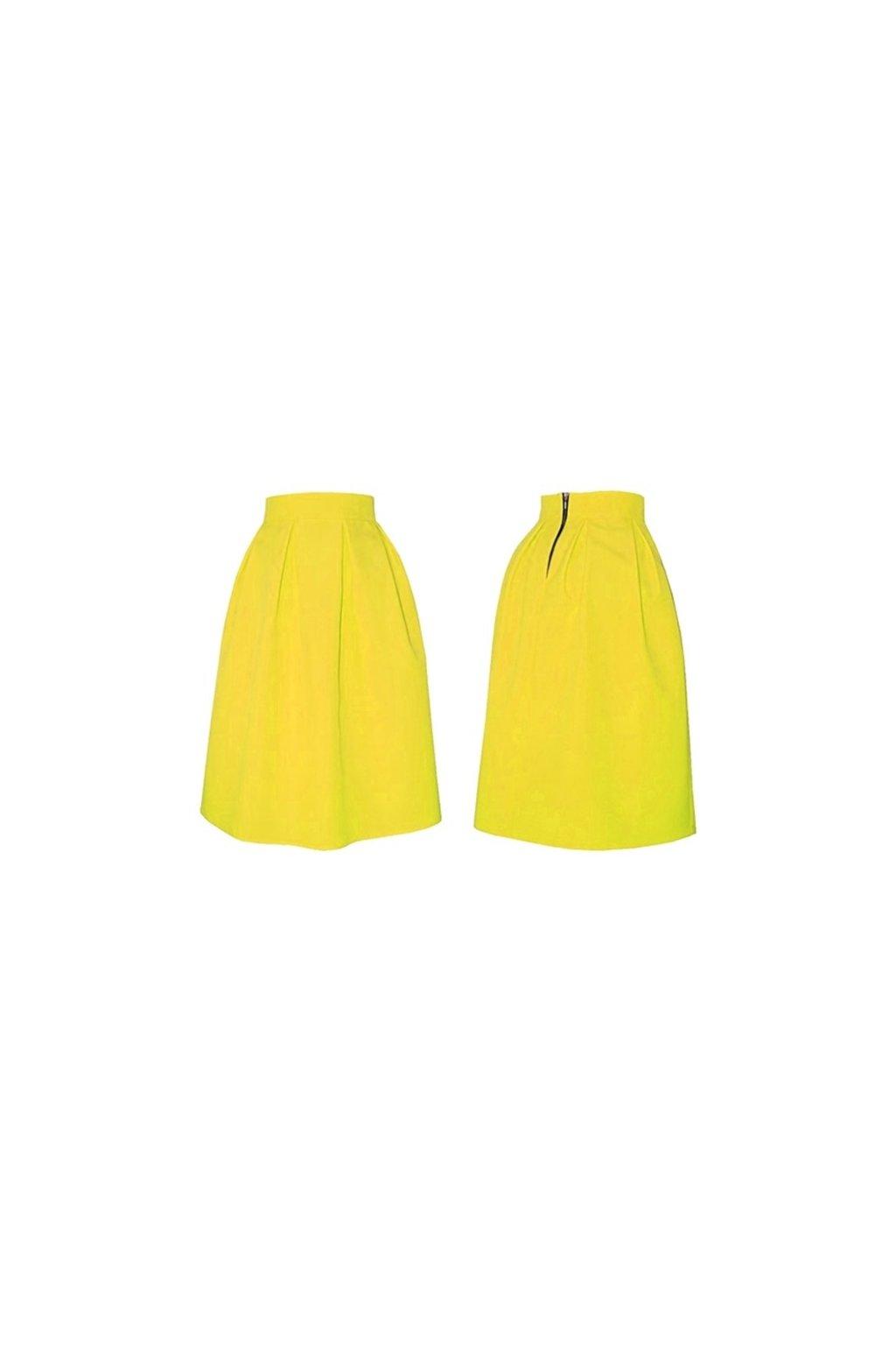 b348c43137bb Áčková sukňa s protizáhybmi žltá - Tentation.sk