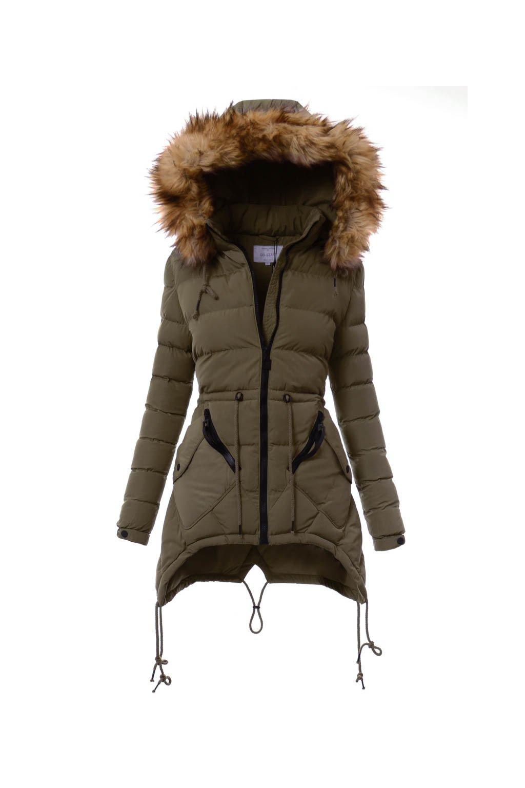 05611fdc67 Dámska zimná bunda s kapucňou 1395 kaki - Tentation.sk