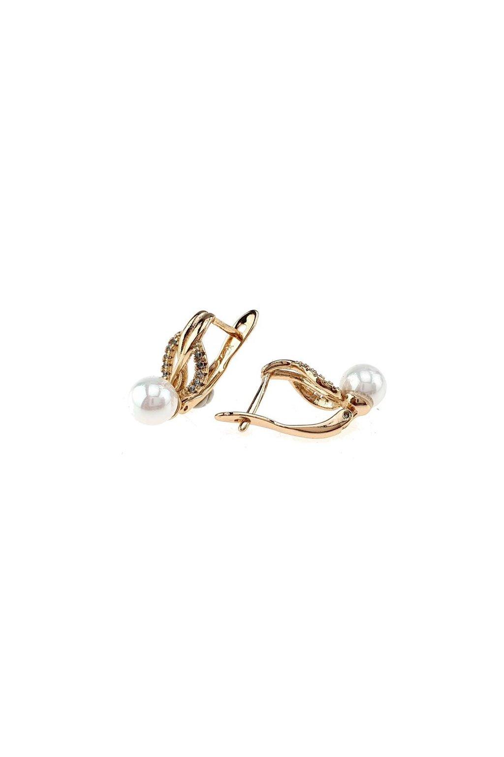 Zlaté perlové náušnice 107